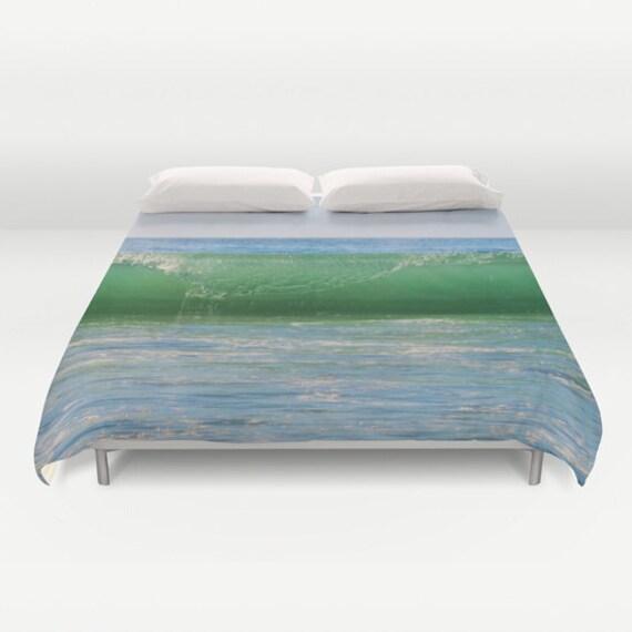 WAVE Duvet Cover, Made to Order, Ocean Wave Bedding, Decorative, Fantasy Bedding, blanket Cover, Bedroom, Ocean Green Blue, Water, Dorm