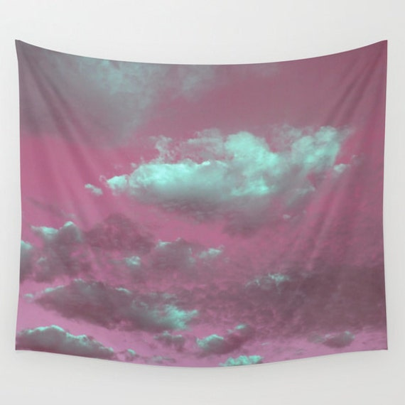 Pink Sky Wall Tapestry, Pink Sky Mint Clouds, modern home decor, nature, fine art, photography, dorm,office,inspirational,dreamy, Cloudy Sky