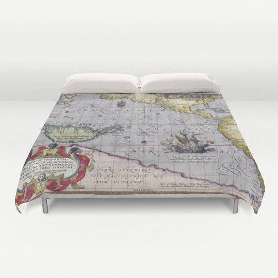 Antique World Map Duvet Cover, Vintage World Map Bedding, Old Map Bedspread  Cover, Unique Design, Dorm, Ancient map, World Map Decor,Old Map