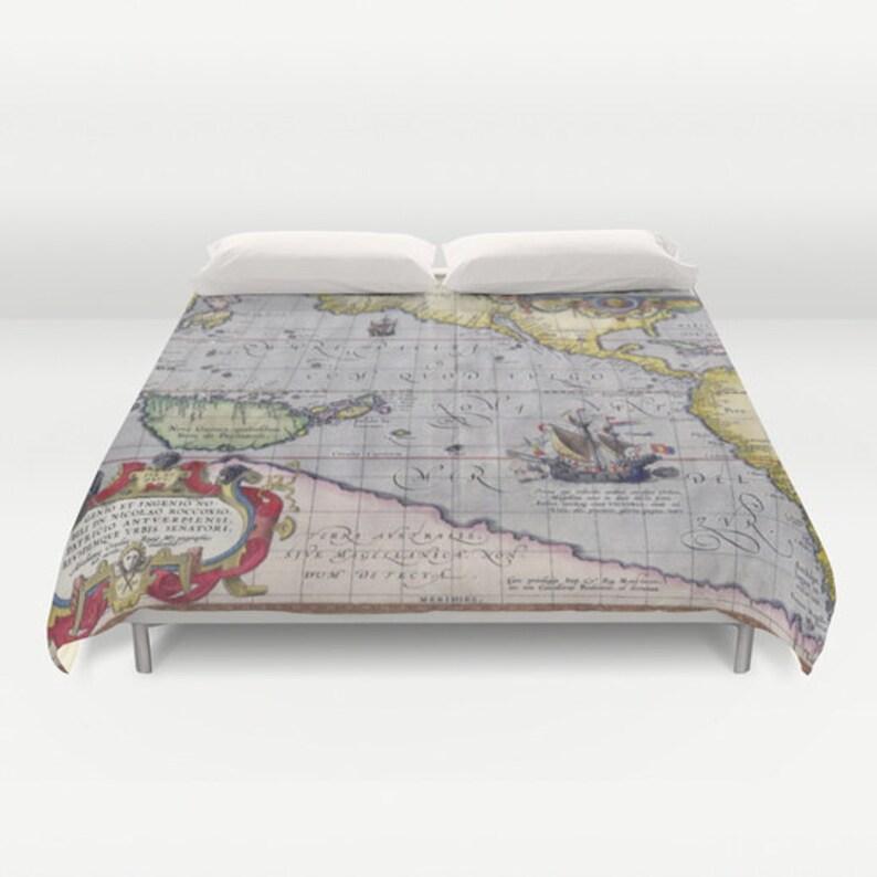 Antique World Map Duvet Cover Vintage World Map Bedding Old | Etsy