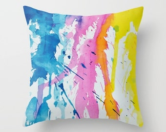 New Age Abstract Throw Pillow, Paint Drips, Office, Decorative Pillow, Teal Blue,Yellow, Pink, Nursery, Happy, Cool,Dorm,Contemporary Modern