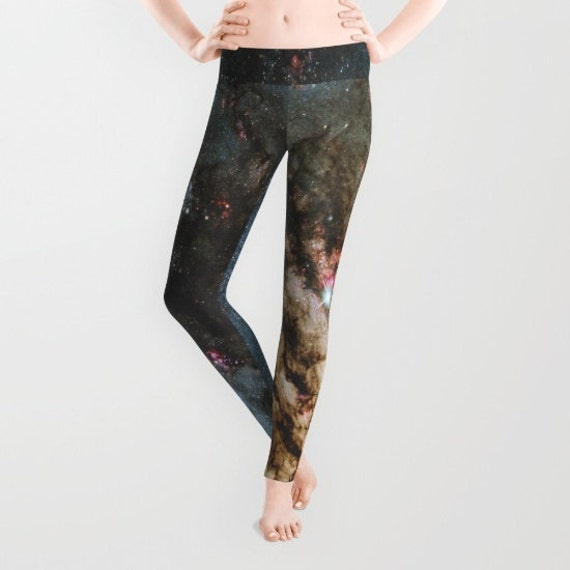 Star Formation Leggings, Space Yoga Pants, Galaxy, Stars Yoga Leggings, Women, Teen Active Wear, Running Pants, Jogging, Yogi, Celestial