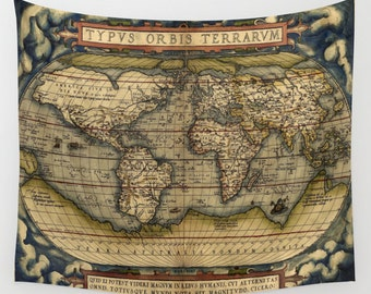 Antique World Map Wall Tapestry, Vintage Map Large Size Wall Art, Modern, Dorm, Office Decor,Beach Hut Decor,Brown, Ancient,Old Map Tapestry