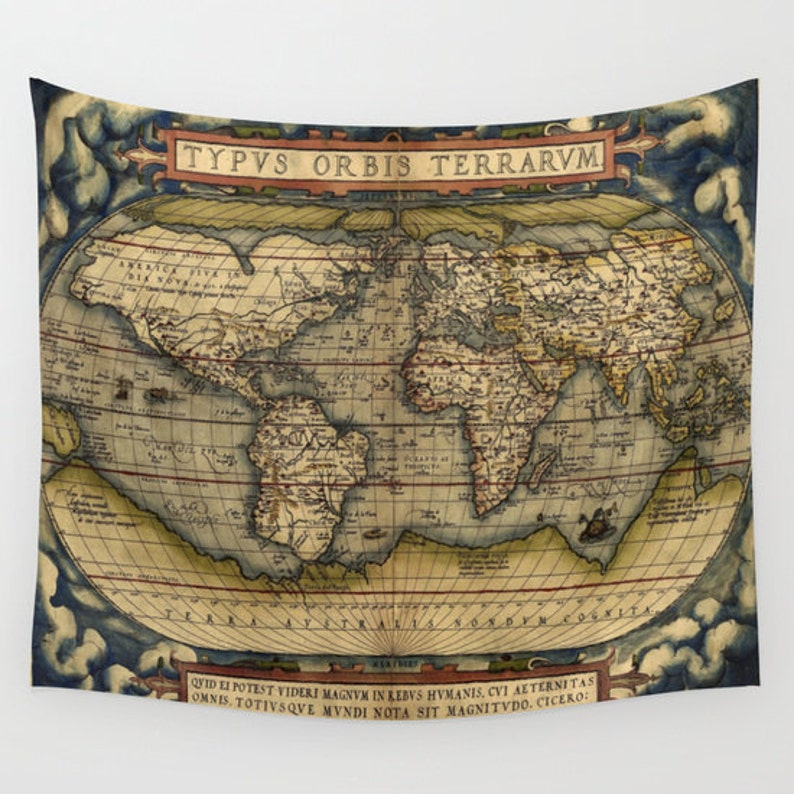 Antique World Map Tapestry.Antique World Map Wall Tapestry Vintage Map Large Size Wall Etsy