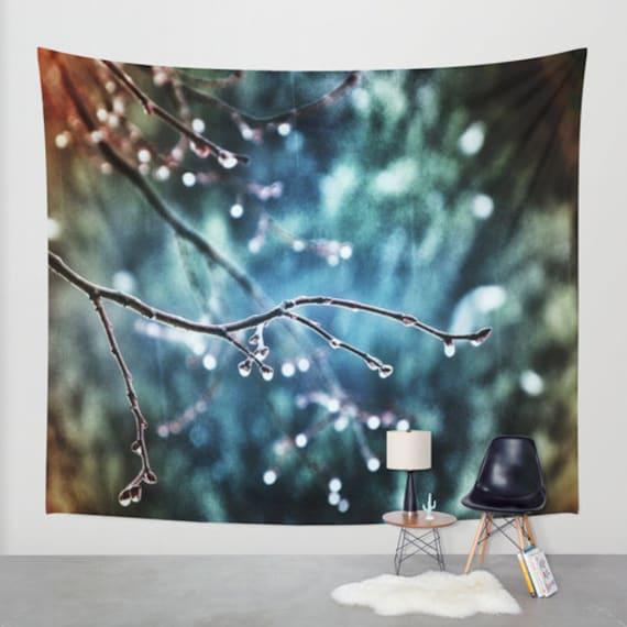 Rainy Day, Wall Tapestry, Large Wall Art, Tree Wall Tapestry, Modern Art, Home Decor, Nature Tapestry, Dorm, Office, Sky Blue, Raindrops