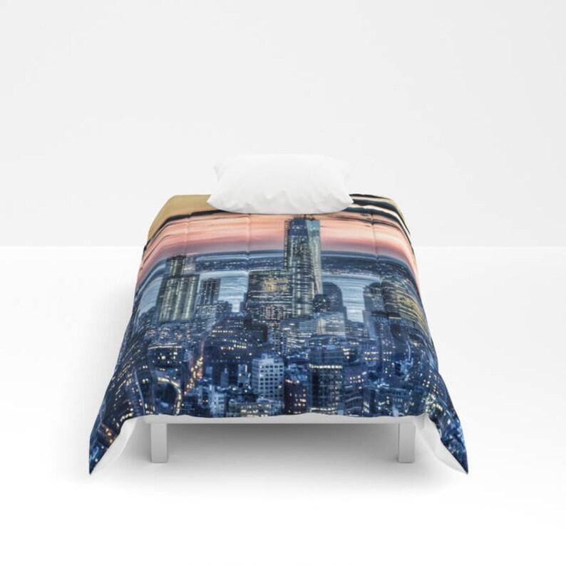 Unique Teen Manhattan Bedspread Dorm Bedding City Urban Decor New York Bedding Blanket Decorative Sunset in New York Comforter