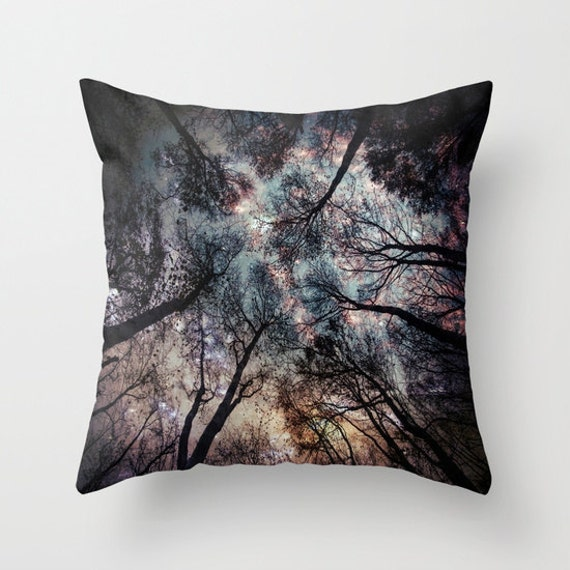 Trees Throw Pillow, Starry Night Pillow, Woods, Office, Woodland, Night Sky , Magical, Moon, Stars, High, Dorm, looking up, fantasy, nature