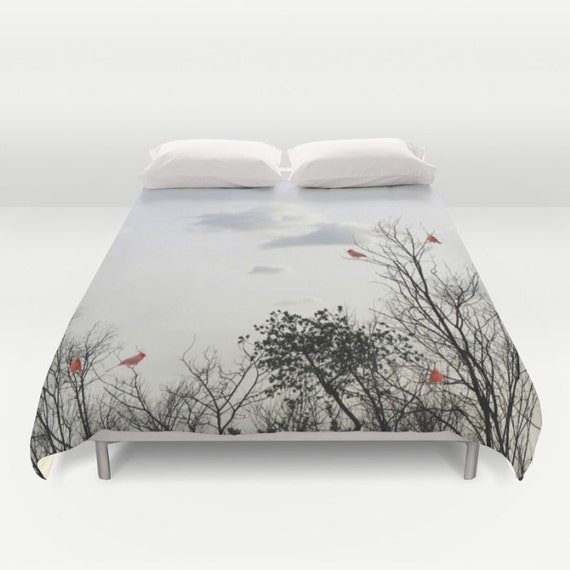Red Cardinals Duvet Cover, Decorative bedding, Trees Bedding, Cloudy sky, Nature bedding, bedroom, Goth, Gothic, Woods, dorm, Branches