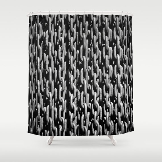 Chain Shower Curtain, Bathroom, Black White Home Decor, Industrial Shower Curtain, Grey Shower Curtain, Metal Chain Shower, Beach, Mancave
