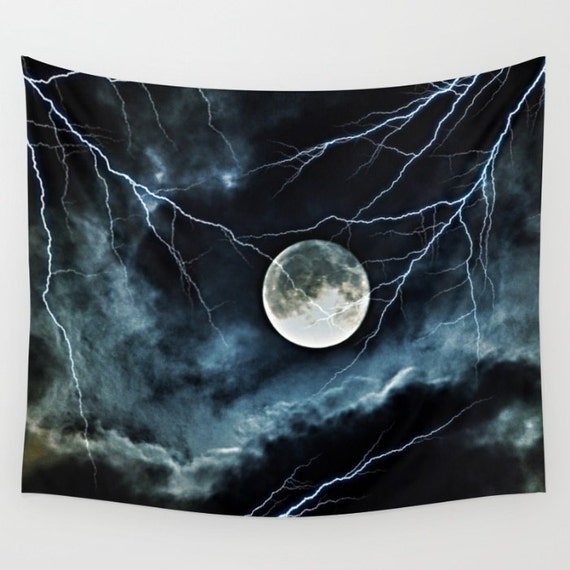 Lightning Sky at Full Moon Wall Tapestry, Night Sky Home Decor, Nature Tapestry, Wall Tapestry, Dorm, Office, Whimsical, Lightening, Cloudy