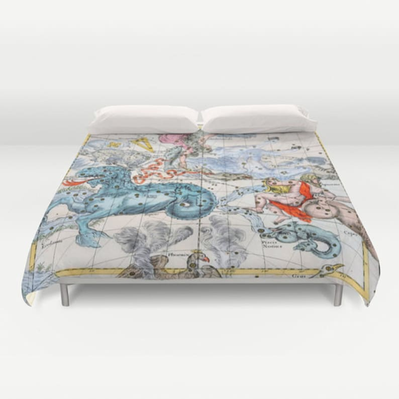 ZODIAC Map Duvet Cover, Vintage Map Bedding, Star Map Bedspread Cover,  Decorative, Unique, star sign, old map,Ancient Zodiac Map Decor, Dorm