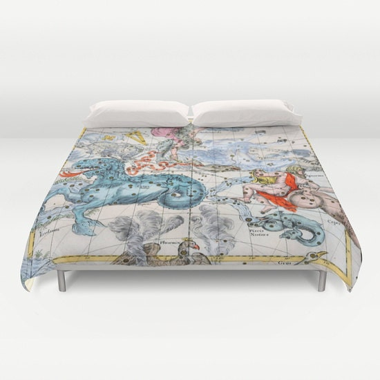 ZODIAC Map Duvet Cover, Vintage Map Bedding, Star Map Bedspread ...
