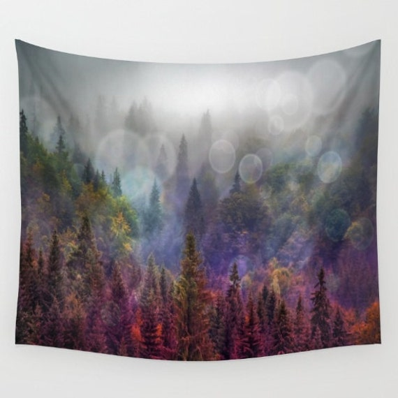Four Seasons Forest Wall Tapestry, Trees Home Decor, Nature, Wall Tapestry, Home Decor, Woodland , Woods, Fir Trees, Rainbow, Dorm, Office