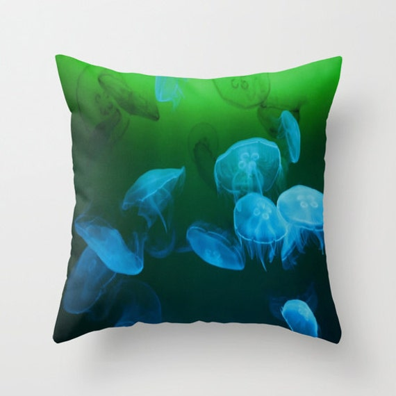 MOON Jellyfish Throw Pillow, Coastal, Ocean Decor, Decorative Pillow, Nature Cushion, Nautical, Office, Surf, Underwater, Blue, Green, Dorm