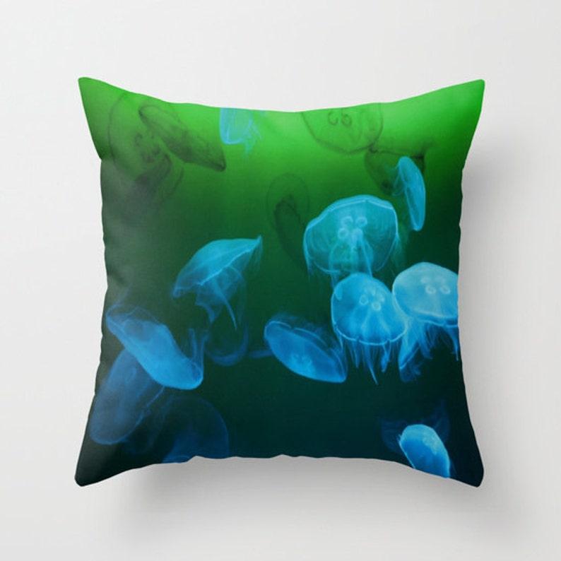 MOON Jellyfish Throw Pillow Coastal Ocean Decor Decorative image 0