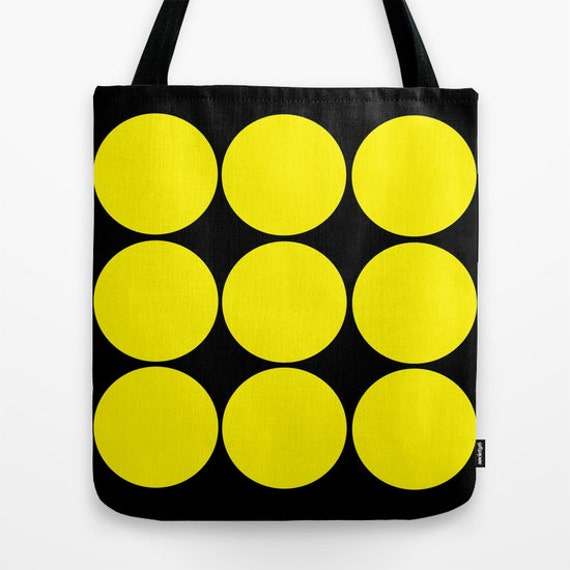 Black Yellow Circles Tote Bag, 13x13, 16x16, 18x18, Circles Tote, Beach Tote, Modern, Office, Market, Contemporary Tote, Teen Tote, Retro