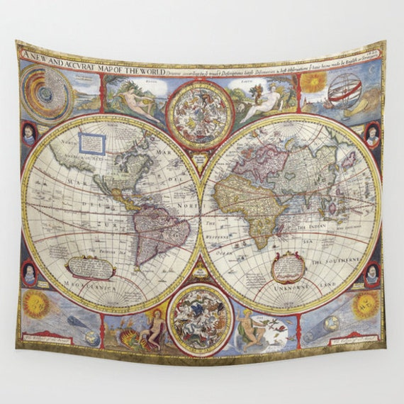 Old World Map Wall Tapestry, Vintage Map Large Size Wall Art, Modern, Dorm, Office Decor,Beach Hut Decor,Brown Tapestry,Vintage Map Tapestry