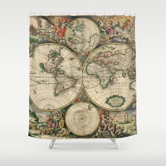 Old World Map Shower Curtain Vintage