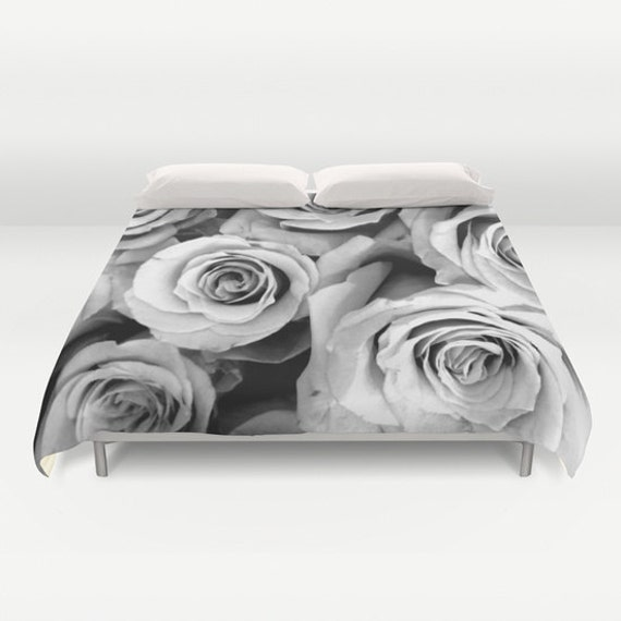 Roses duvet cover black white bedding flower bedding etsy image 0 mightylinksfo