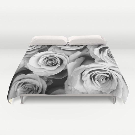 Roses Duvet Cover Black White Bedding Flower Bedding Floral
