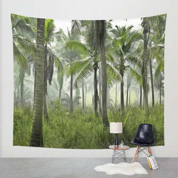 Tropical Wall Tapestry, Palm Trees Large Size Wall Art, Fine Art Photography, Modern Decor, Nature, Outdoor, Green, Office, Dorm, Forest