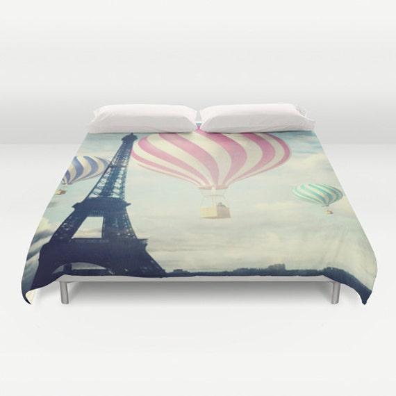 Hot Air Balloons Paris Duvet Cover, Made to Order, Eiffel Tower, Eye Candy, Decorative, Fantasy Bedding, Unique Design, Dorm bedding, teen