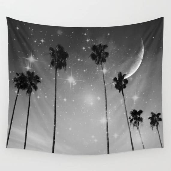 Palm Trees Starry Night Wall Tapestry, Tropical, Office, Large Size Wall Art, Black White Nature, Moon, Stars, Garden, Beach Hut Decor, Dorm