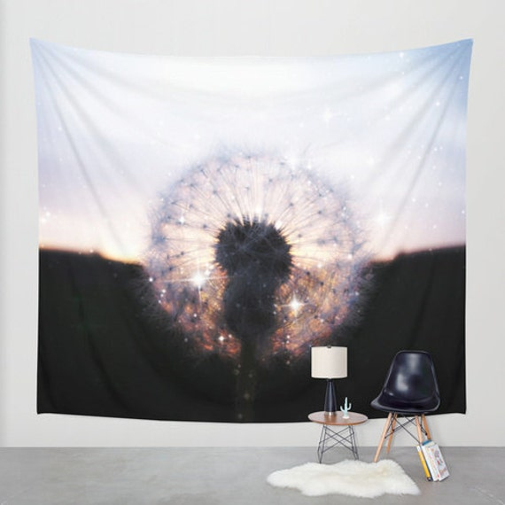 Dandelion Tapestry, Sunset Tapestry, Nature Large Wall Decor, Make a Wish Photo, Dorm, Stars Decor, Wall Hanging, Sparkle, Black, Office