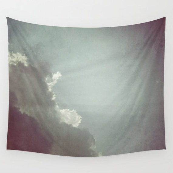 Cloud Tapestry, Rays of Sunshine Tapestry, Aqua Blue Large Wall Decor, Photo, Office, Modern, Dorm, Wall Hanging,Nature Tapestry, Cloudy Sky