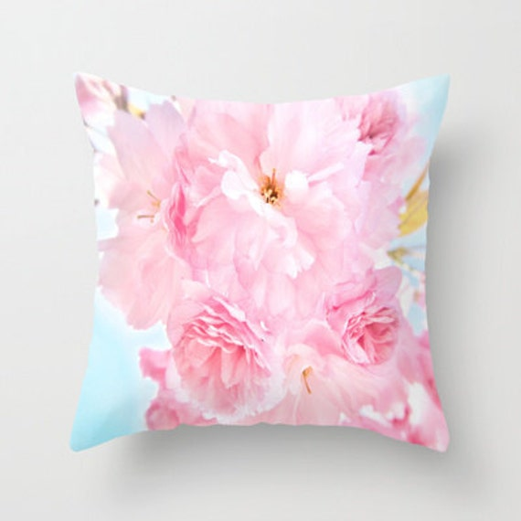 Throw Pillow, Soft Blue Sky with Pink Peonies, Decorative Pillow, Cover, Cushion, Wedding Gift, Flower Pillow, Whimsy, Dorm, Hotel, Office