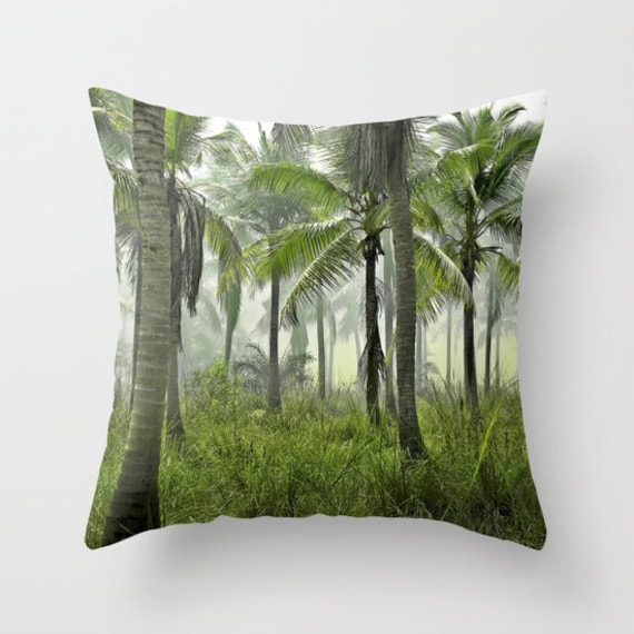 Jungle Palms Throw Pillow, Green, Palms, Tropical Decorative Pillow, Palm Tree, Surf, Nature, Forest Beach, Botanical, Dorm, Hotel, Office