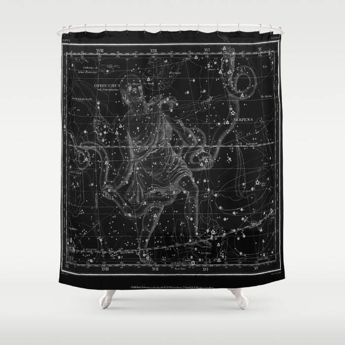 Celestial Map Print Shower Curtain Vintage Star Sign