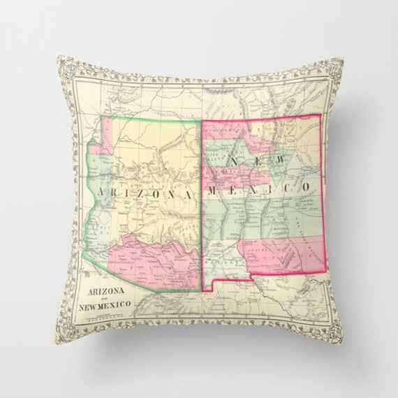 Antique New Mexico - Arizona Map Throw Pillow, Vintage Map, Dorm, Old New Mexico Arizona Map Decor, Office Pillow, Office Decor, Geography