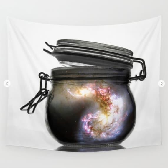 Jar of Galaxy Wall Art Tapestry, Space Tapestry, Stars, Planets, Mason Jar, Nature, Nebula Home Interior, Spiral Galaxy, Dorm, Office, glass
