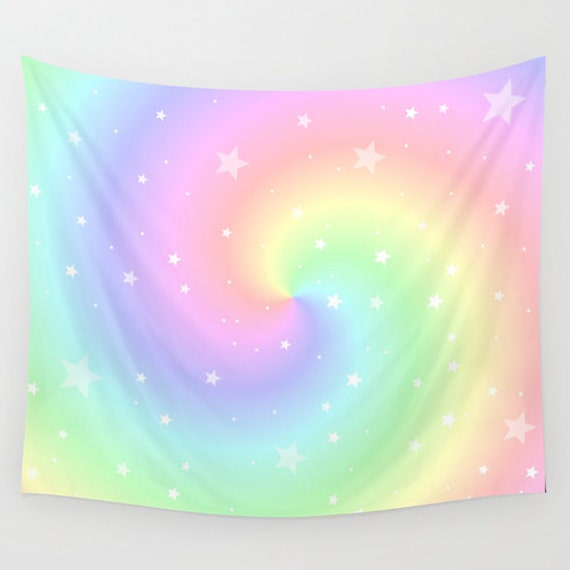 Rainbow Swirl and Stars Wall Tapestry, Large Wall Art, Beach, Eye Candy, Cool, Retro, Home, Outdoor, Vibrant, Office, Happy, Dorm, Trend