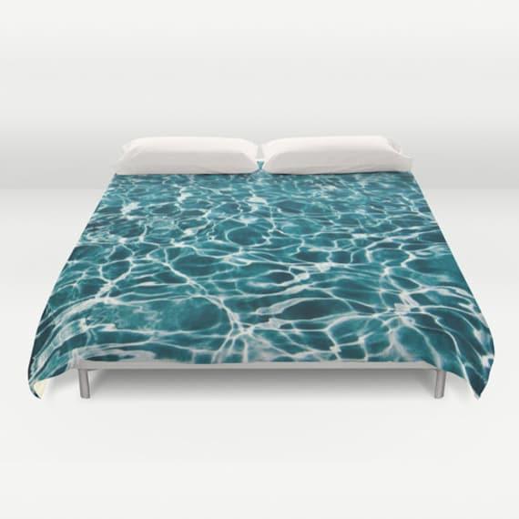 POOL Duvet Cover, Water Decorative bedding, unique design, Nautical blanket cover, Aqua Blue bedroom, Ocean Blue, Abstract Bedding, Dorm