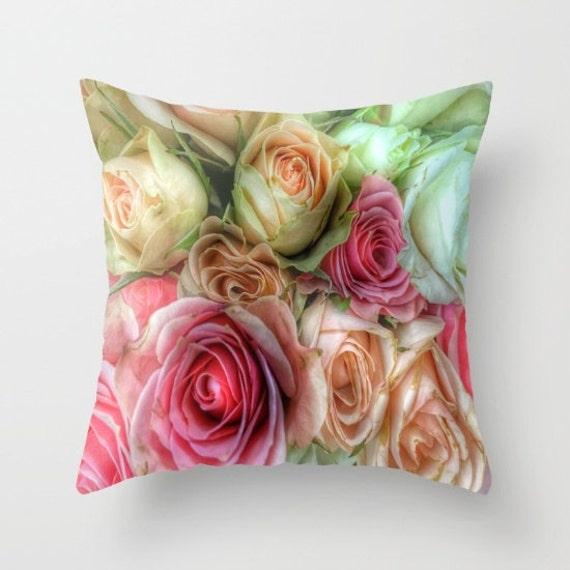 ROSES Pink Cream Throw Pillow, Flower Pillow, Decorative, Drama, Cushion, Wedding Gift, Vintage Rose, Nature, Romance, Valentine's, Boudoir