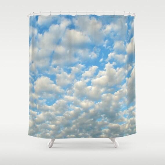 POPCORN CLOUDS Shower Curtain Cloud Bathroom Ocean Blue