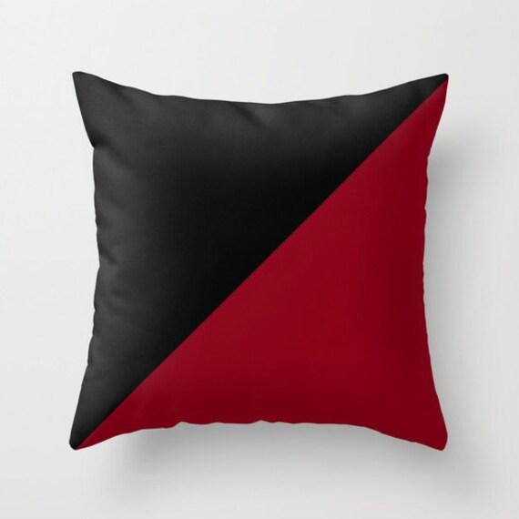 Black Burgundy Throw Pillow, Decorative Pillow, Black Dark Red Cushion, Graphic Design, Modern, Unique Pillow, Contemporary, Dorm, Office