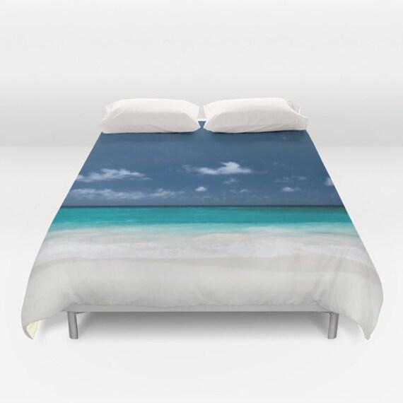Beach Duvet Cover, Ocean Decorative bedding, unique design, Nautical, Dorm bedding, Aqua Blue bedroom,Surf, Water, Ocean Blue, Calm Waters