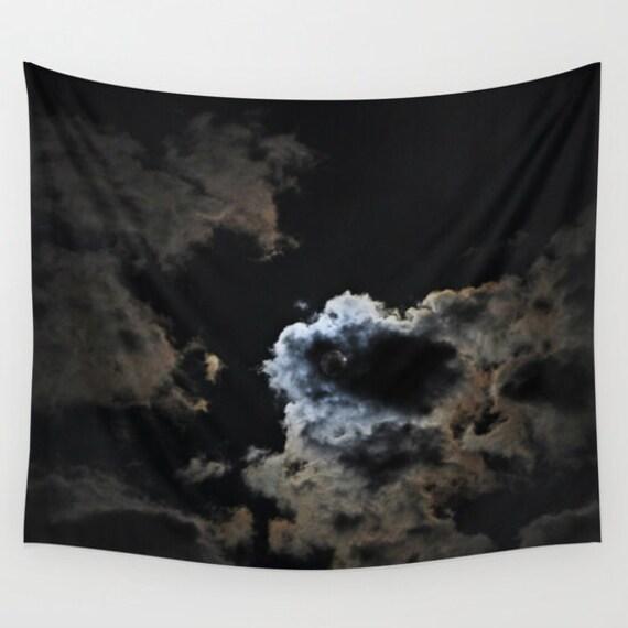 Night Sky Wall Tapestry, Moon Tapestry, Night Sky Home Decor, Nature Tapestry, Wall Tapestry, Office, Cloud Night Tapestry, Black, Dorm