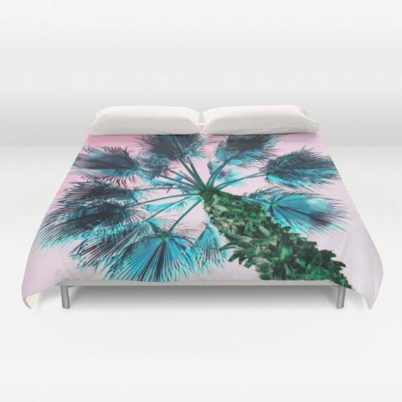 Pink Sky Duvet Cover, Pink Blue Bedding, Palm Tree Bedspread, Decorative, Palm Tree Bedding, Unique Design, Dorm, Bedroom, Tropical, palms