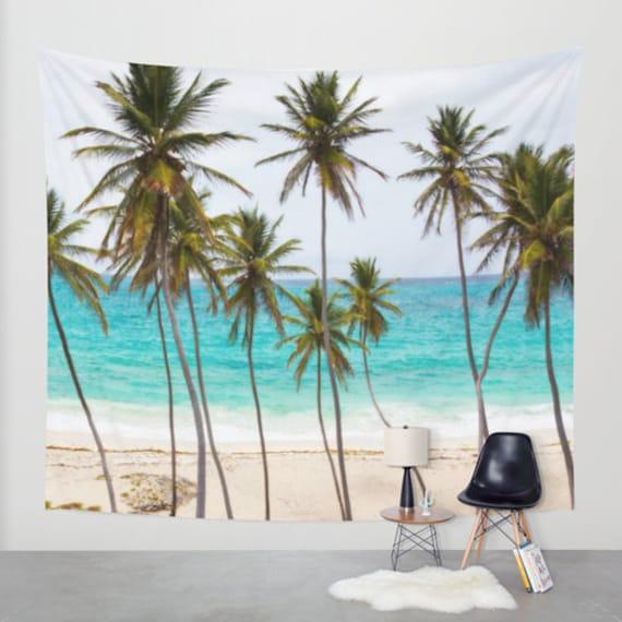 Palm Beach Wall Tapestry, Palm Trees Large Size Wall Art, Fine Art, Office, Tropical Decor, Nature, Teal,Ocean, Beach Hut, Dorm, Coastal