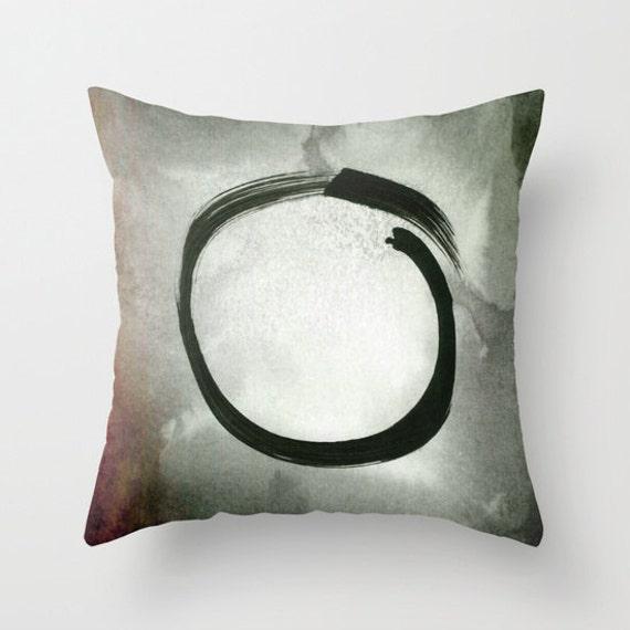 Enso Throw Pillow, Zen Pillow, Buddhism Decor, Japanese Art Decor, Black Circle Decorative, Cushion, Red, Grey, Spirit Mind, Office, Dorm