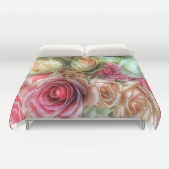 ROSES Duvet Cover, Pink Cream Bedding, Flower bedding, Unique design,Flower,Twin,Full Queen,King,Retro, Vintage, Dorm, Drama, Valentine's