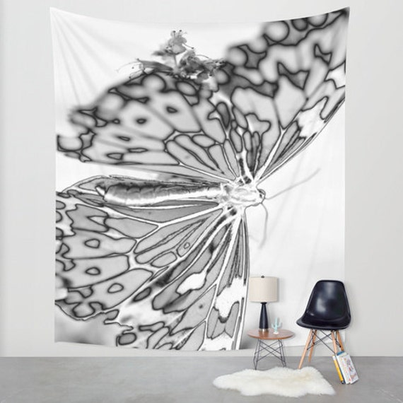 BUTTERFLY Wall Tapestry, Black White Tapestry, Contemporary Home Decor, Modern, Nature, wings, Whimsical, Mono, Happy, Dorm, Office, Light