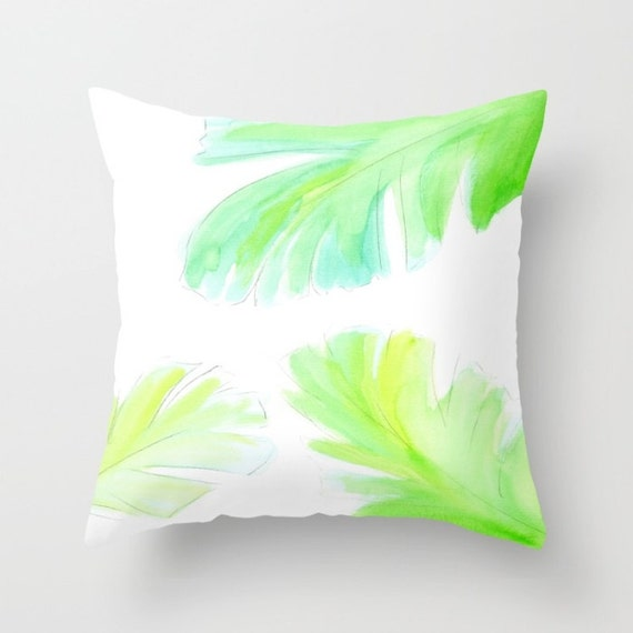 Banana Leaf Pillow, Watercolor Pillow, White Green Throw, Fresh, Spring, Bright Decorative, Tropical, Beach, Dorm, Office, nature, palm leaf