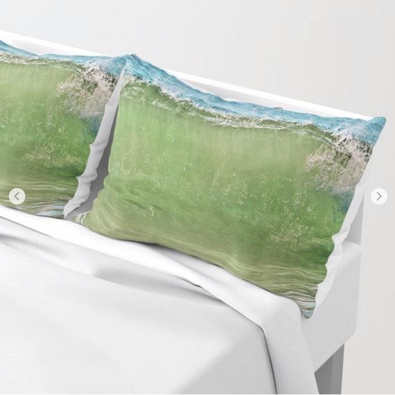 Ocean Waves Pillow Shams Set of 2, Pillow Cover, Blue Green Sham, Beach, Dorm, Nautical Decor, Aqua Blue bedroom, Surf, Water, Hotel, Happy