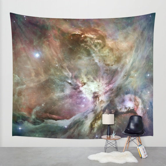 Orion Nebula 2 Wall Art Tapestry, Space, Dorm, Office, Stars, Planets, Colorful, Noir Wall Art, Nature, Abstract Home Interior,Lilac Brown