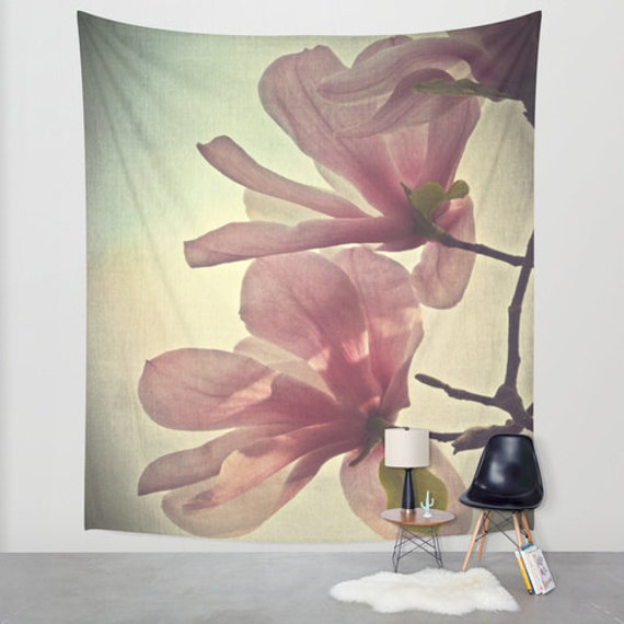 Magnolia Tapestry, Flower Tapestry, Floral Large Wall Decor, Photo Tapestry, Modern Decor, Wall Hanging, Nature, Dorm, Office, Botanical